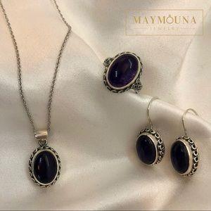 Jewelry - 925 STERLING SILVER GENUINE AMETHYST GEMSTONE SET
